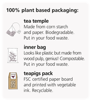 100% plant based packaging - graphic on packs